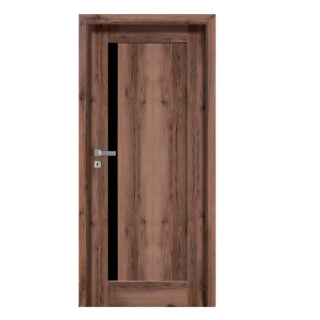 POL-SKONE – drzwi wewnętrzne ramiakowe- MONA W01 z czarną szybą laminowaną